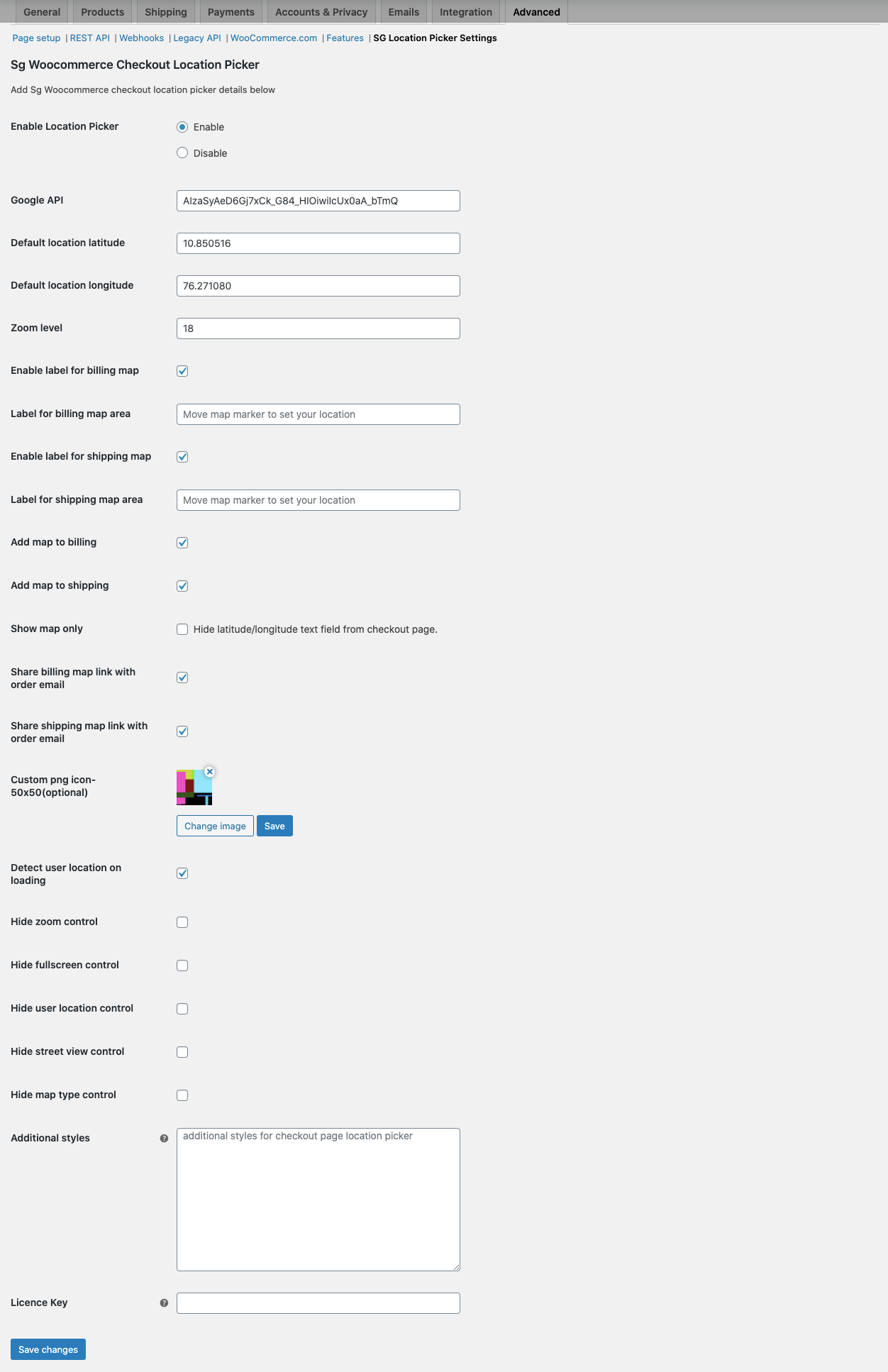 sg woocommerce checkout location picker settings page