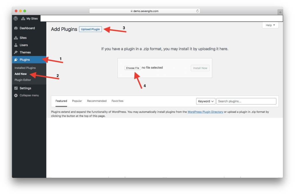 steps to upload a plugin on WordPress
