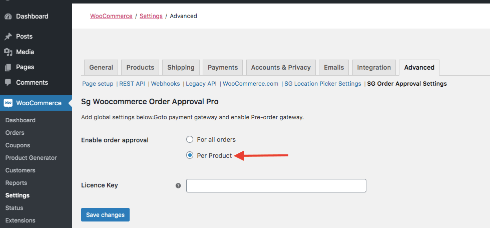 Configuring woocommerce orde approval for single products
