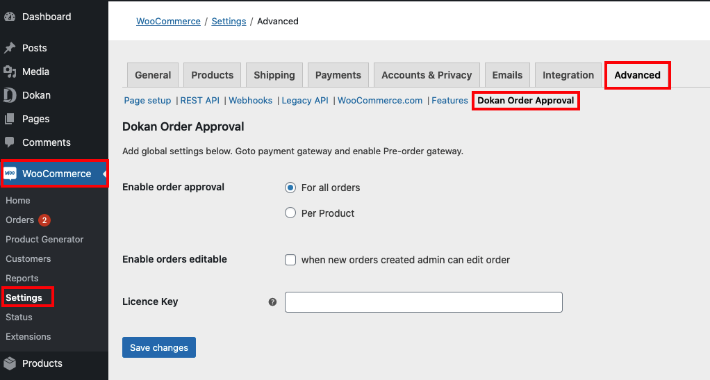 dokan shop owner settings page