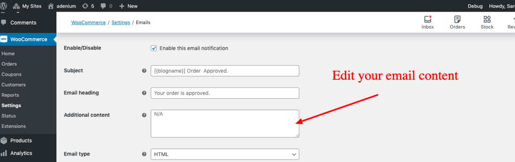 email content order approval